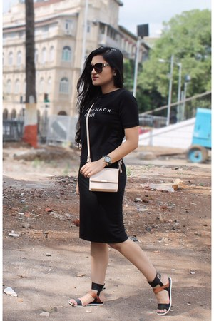 Zara bag - tshirt Forever 21 dress - dior sunglasses - Zara sandals