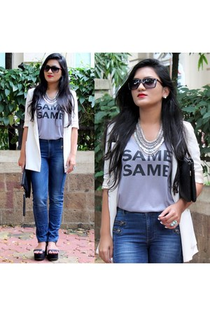 white Zara blazer - high waisted Only jeans - Prada sunglasses
