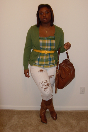 yellow from good will belt - brown boots - white Forever 21 jeans