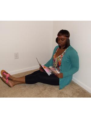 cara ny accessories - Pink Rose leggings - Ann Taylor Loft sweater - American Ea