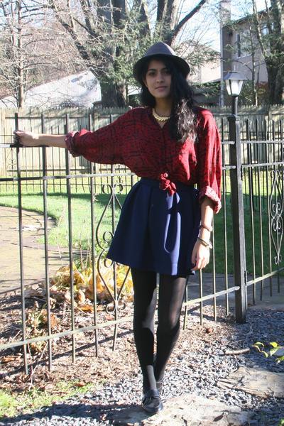 black Shomint shoes - charcoal gray fedora H&M hat - brick red silk moms shirt