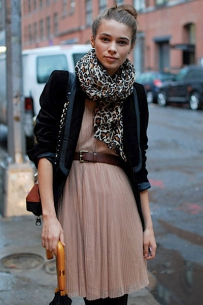 leopard print scarf - pale pleated dress - velvet jacket