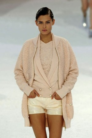peach Chanel shirt - peach Chanel shorts - peach Chanel cardigan