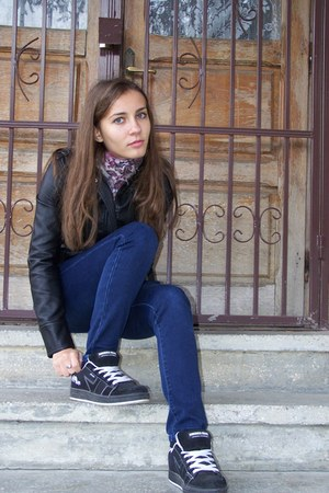 blue jeans - black jacket - pink scarf - black and white sneakers