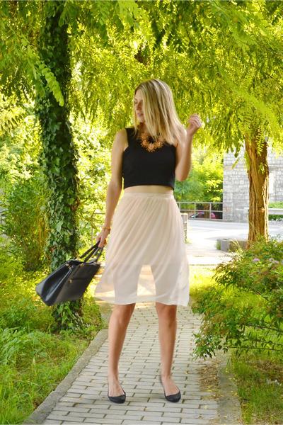 black Carpisa bag - neutral sheer asos skirt - black crop Bershka top