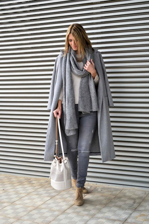 tan Zara boots - heather gray Sheinside coat - heather gray H&M jeans