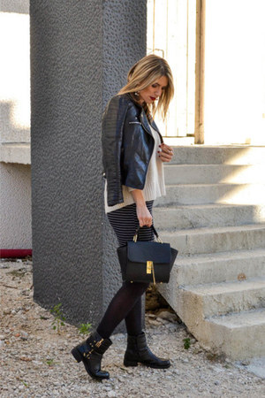 black new look boots - black biker Choies jacket - cream Zara sweater