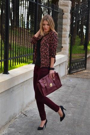 floral bomber new look jacket - crimson new look bag - crimson new look pants