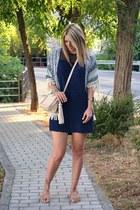 navy Zara dress - blue kimono Sheinside jacket - beige Aldo bag