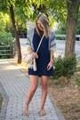 Navy-zara-dress-blue-kimono-sheinside-jacket-beige-aldo-bag