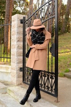 camel Sheinside coat - black new look boots - black Zara jeans