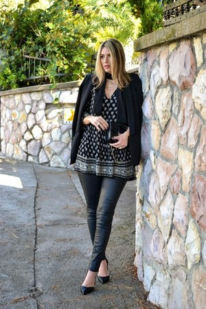 black printed Zara dress - black Sheinside blazer