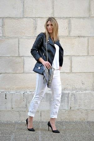 white boyfriend Zara jeans - black biker Choies jacket - white asos t-shirt