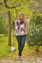 crimson plaid Stradivarius scarf - neutral asos shirt - light pink Zara bag