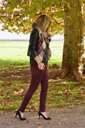 black biker Choies jacket - maroon new look jeans - black Oviesse shirt