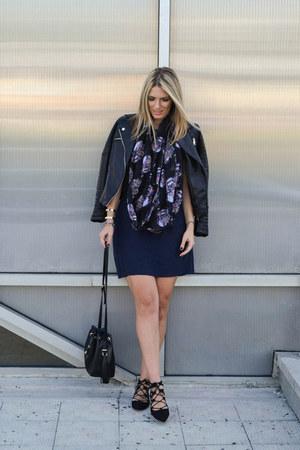 black Choies jacket - navy Zara dress - black asos scarf - black Zara bag