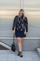 black Choies jacket - navy Zara dress - black asos scarf - black Zara bag