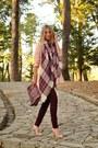 Peach-stradivarius-coat-crimson-plaid-stradivarius-scarf