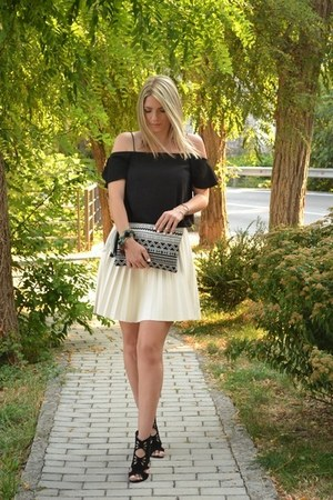 black aztec print Bershka bag - cream Zara skirt - black off shoulder asos top