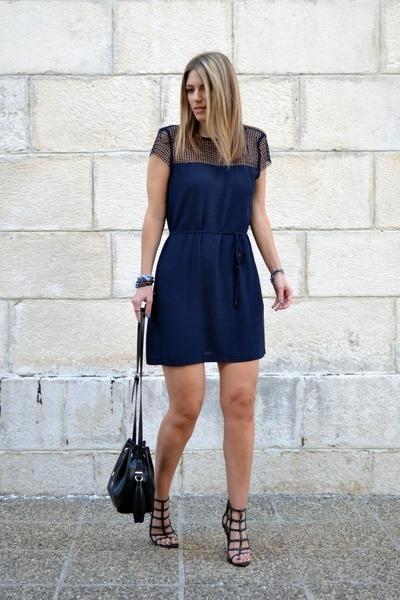 navy Zara dress - black bucket bag Zara bag - black studded Zara heels