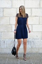 navy Zara dress - black bucket bag Zara bag - black studded Zara heels