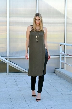 asos bracelet - statement Zara necklace - black Stradivarius heels