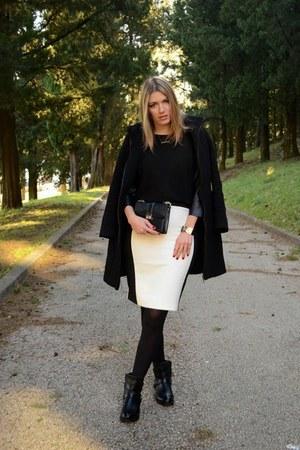 black biker new look boots - black Zara coat - black Zara shirt - black Zara bag