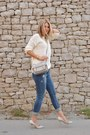 Stradivarius-jeans-white-bershka-sweater-silver-satchel-river-island-bag