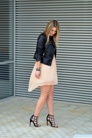 peach Zara dress - black biker Choies jacket - black Zara heels