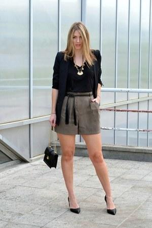 black Zara belt - black Sheinside blazer - black Zara bag