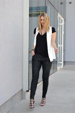 black Tally Weijl t-shirt - black Zara pants - white Sheinside vest