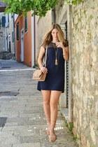 navy Zara dress - tassel Happiness Boutique necklace