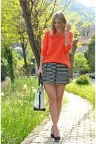 white Cruciani bracelet - New Yorker bag - carrot orange Zara jumper