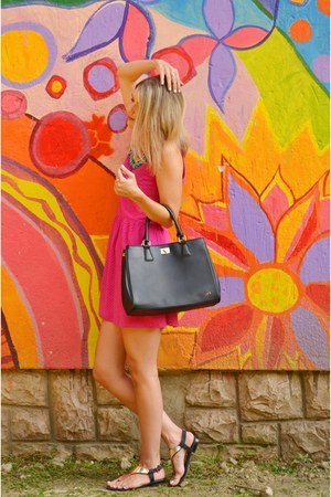 black Carpisa bag - hot pink H&M dress - sky blue Stradivarius necklace