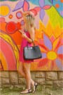 Hot-pink-h-m-dress-black-carpisa-bag-sky-blue-stradivarius-necklace