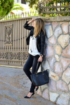 black Stradivarius jeans - black Choies jacket - black new look bag