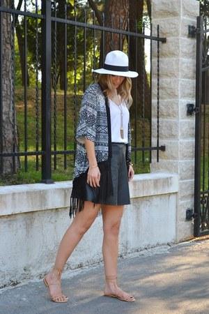 black H&M skirt - kimono Sheinside jacket - white asos top