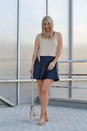 eggshell Aldo bag - nude lace up pull&bear shoes - black H&M skirt