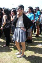 black American Apparel cardigan - silver American Apparel skirt - beige American