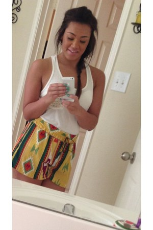 yellow aztec shorts shorts