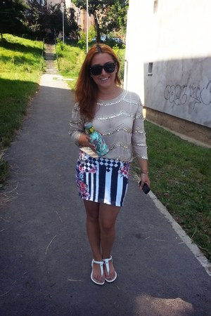 white Deichmann flats - fluid Zara blouse - Zara skirt