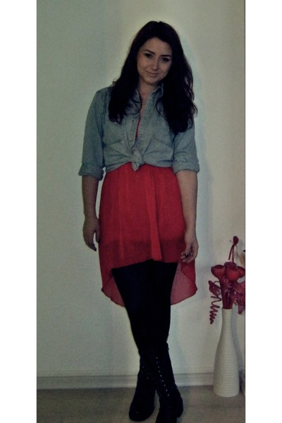 red boutique dress - jeans vintage shirt