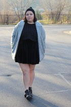 black Forever 21 hat - moto H&M boots - velvet black Urban Outfitters dress