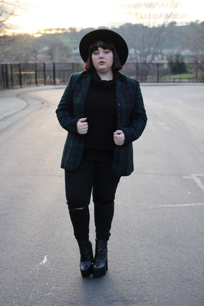 plaid thrifted blazer - black ripped asos jeans - relics UNIF hat