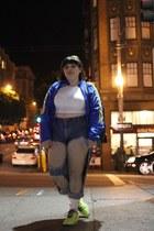 windbreaker Boston Marathon jacket - denim thrifted jeans