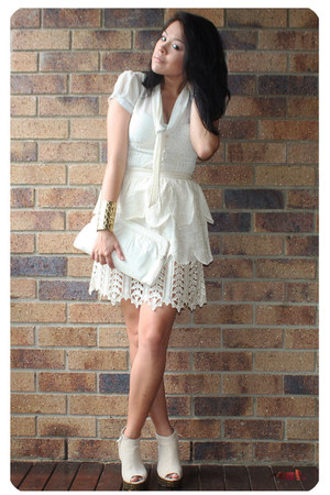 cream Manoush skirt - cream Temt blouse - beige Jeffrey Campbell shoes - ivory v