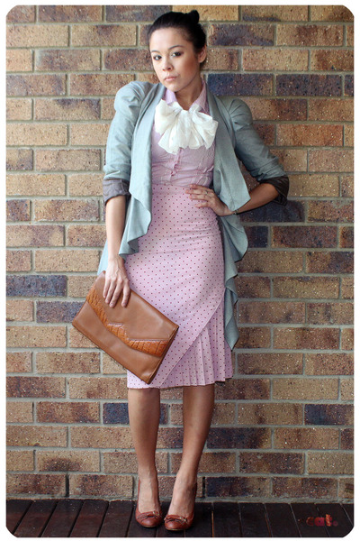 pink vintage skirt - brown basque shoes - gray asos jacket - red shirt