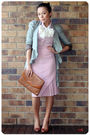 Pink-vintage-skirt-red-shirt-brown-vintage-bag-brown-basque-shoes-gray-a