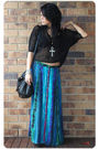 Black-sportsgirl-honeycomb-mesh-top-blue-vintage-skirt-black-hong-kong-bouti