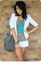 white vintage blazer jacket - white Bebe shorts - brown Supre puff shoulder leop